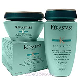Kerastase Resistance Bain De Force Shampoo 8.5 and Masque Force Architecte 6.8 Duo, for Brittle, Very Damaged Hair, Split Ends. by Kerastase