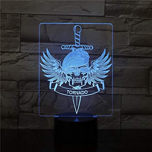 Decorazione di Halloween Eagle Skull Alien 3D Night Light Lampada da tavolo a LED Lampadina LED USB RGB Mood Multicolore Incandescente Giocattolo per bambini Regalo 2914