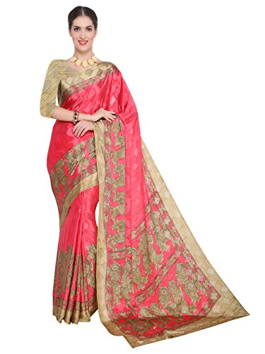 Kanchnar Women's Pink and Beige Crepe Self Jacquard, Printed Saree