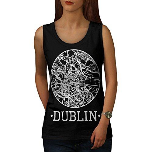 Irland Stadt Dublin Stadt Karte Damen Schwarz S-2XL Muskelshirt | Wellcoda Schwarz