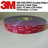 3M VHB RP45 Double-Sided Acrylic Foam Klebeband | 12mm x 33meter | Dicke 1.1 mm | Das Montageband ist eine großartige Lösung für Außenanwendungen. Bindungen an einer Vielzahl von Oberflächen, einschließlich : Glas , Metall, einige Kunststoffe , Composites, versiegeltes Holz