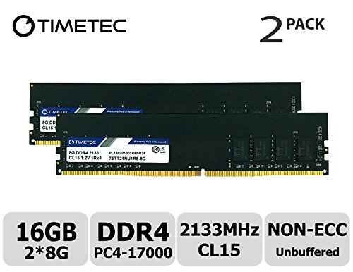 Timetec Hynix IC 16GB Kit (2x8GB Single Rank) DDR4 2133MHz PC4-17000 1.2V CL15 1Rx8 Single Rank 288 Pin UDIMM Desktop Arbeitsspeicher Upgrade (16GB Kit (2x8GB Single Rank)) -