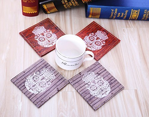LINKWELL 10x10cm Wood Look Happy Halloween Sugar Skull Leather Printed Set of 4 Coasters by - Skull Halloween-look Sugar