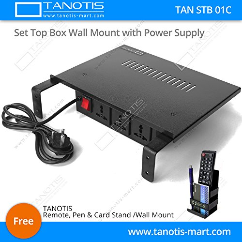 Tanotis Set Top Box Wall Mount Stand with inbuilt Power Supply Sockets Extension Box - High Quality, Strong Built