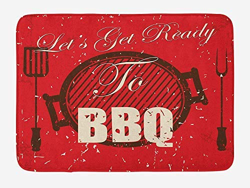 BBQ Party Bath Mat, Lets Get Ready to BBQ Typography Grunge Grill Utensils 23.6 X 15.7 Inches, Black Eggshell Vermilion 24 Bar-utensil
