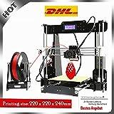 Abcs Printing Acrylmaterial A8 3D-Drucker, verbesserte LCD-Anzeige Prusa I3 3D-Drucker großen Druck, Unterstützung PLA / Holz / ABS 3D-Filament, DIY 3D-Drucker-Kit,3D Printer(Black)