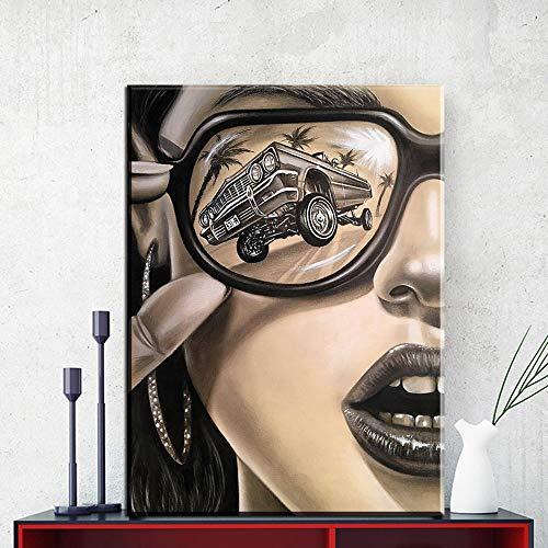 liwendi Moderne Sonnenbrille Mode Frau Leinwand Malerei Wandkunst Bild Für Wohnzimmer Dekoration Modernen Charakter Poster Und Drucken 60 * 80 cm