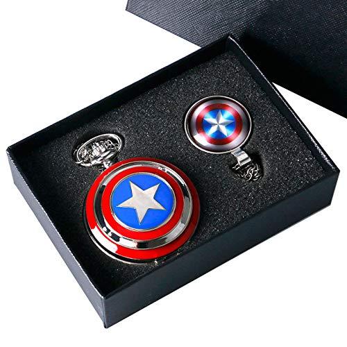 Marvel Avengers Captain America Shield Taschenuhr für Jungen Geschenkset Coole 3D Captain America Shield Taschenuhren für Herren mit Ketten (Wie Man Den Marvel-weg)