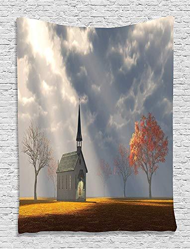 Soefipok Wand-Dekor kleine Bäume Ansicht Wandbehang seidig Satin Gobelin für Wohnzimmer Schlafzimmer Wohnheim -
