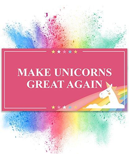 Preisvergleich Produktbild Einhorn Schild – Make Unicorns Great Again (30 x 15cm)   Süße Wand-Deko, Türschild für Mädels-Wohnung & Mädchen-Zimmer   Geschenkidee & Geburtstags-Geschenk   Trump Verarsche - Make America Great Again