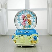 Preisvergleich für Baby-lustiges Spielzeug Schneit romantische Haus Paare Riesenrad Spieluhr Crystal Ball Schreibtisch Dekoration-blau