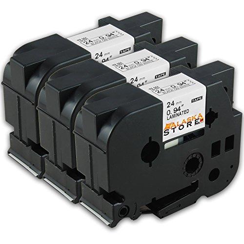 Preisvergleich Produktbild 3x beschriftungsband für Brother TZE 251 Schwarz 24mm P-Touch