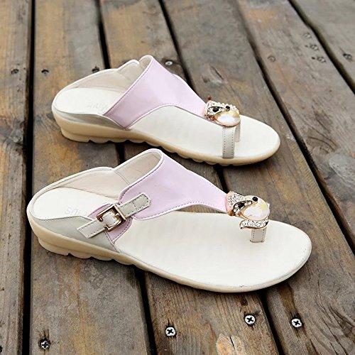 TONGS SANDALES Sandales Spring Summer Comfort Robe en PU Casual Flip-Flops (Blanc / Bleu / Rose) élégant Rose