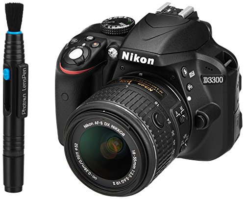 Nikon-D3300-242-MP-Digital-SLR-Camera-Black-with-18-55mm-VR-II-Lens-Kit-with-8GB-Card-and-Camera-Bag-Photron-Lenspen-Lens-Optical-Cleaner-with-Unique-Carbon-Cleaning-Compound