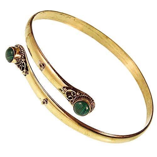 Chic-Net Brass Oberarmreif Armreif gold Malachit rund Seil Spiralbogen nickelfrei verstellbar Tribal Oberarm