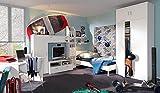 4-tlg. Jugendzimmer in weiß, Kleiderschrank mit Aufsatz B: ca. 106 cm, Bett 90 x 200 cm Liegefläche, Schreibtisch B: 106 cm, Soft Plus von CS Schmal thumbnail