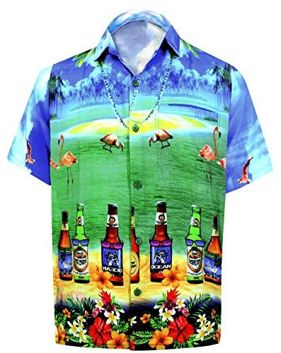 LA LEELA männer Hawaiihemd Kurzarm Button Down Kragen Fronttasche Beach Strand Hemd Manner Urlaub Casual Herren Aloha Hellblau_229 5XL Likre DRT049