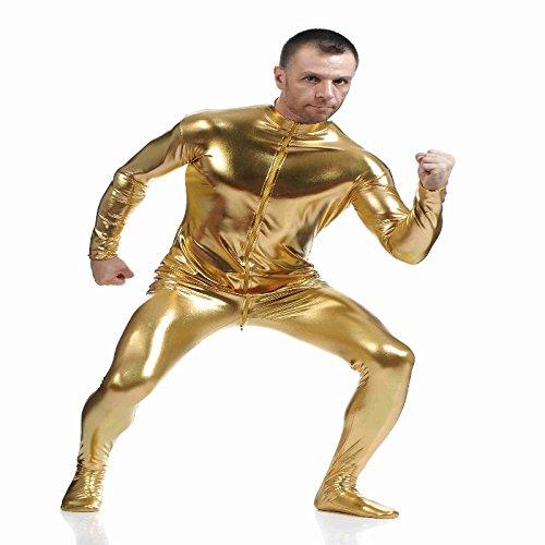 Baoblaze Glänzende Ganzkörperanzug Kostüm Ganzkörper Second Skin Suit Verkleidung - Gold, l