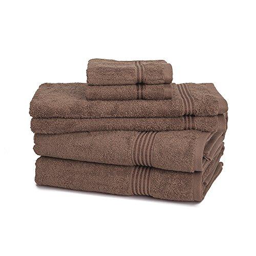 Egyptian Cotton Towel Set - 6-Piece 600GSM - Medium Weight & Absorbent by eLuxurySupply, Mocha