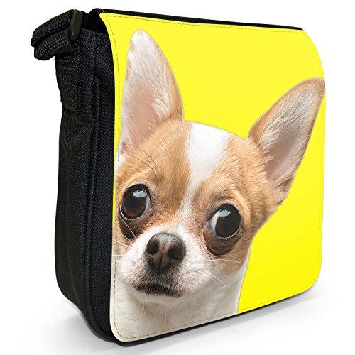 Ultra Cute Chihuahua Close Up Piccolo Nero Tela Borsa a tracolla, taglia S Yellow Background Chihuahua