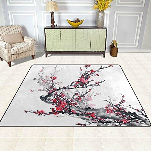 S&Y Teppiche Teppich Matte 4'x5', Japanische Blumen Blume Pflaume Kunst Polyester rutschfeste Wohnzimmer Esszimmer Schlafzimmer Teppich Eingang Fußmatte Home Decor (Teppich Zeitgenössische Pflaume)