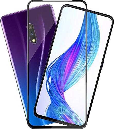Remembrand 9H+ High Definition Tempered Glass for Realme X (Black)-Edge to Edge Full Screen Coverage
