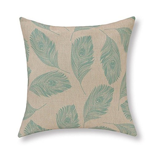 AHArtSaleStore O14L Various Peacock Teal Feathers Decoration Pillow Case Cushion Cover 18 inch (Teal Feather)