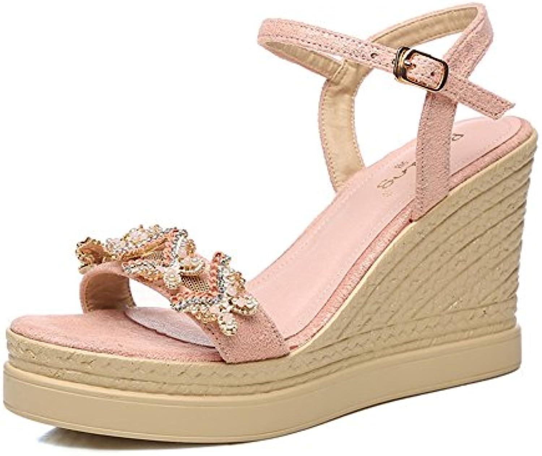 Sandalias de 9 cm, zapatos de verano, pendiente con agua dulce para los zapatos de palabra rhinestone ( Color...