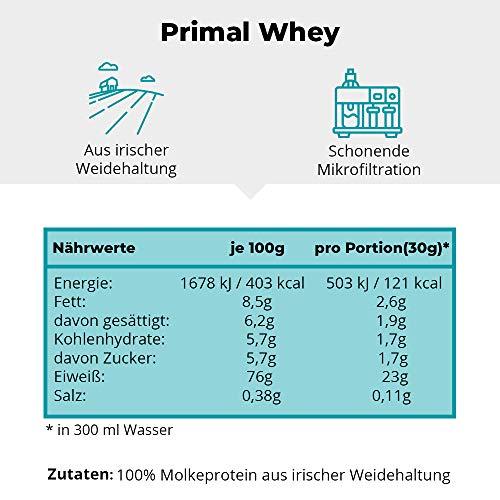 PRIMAL WHEY Protein Neutral - 100{6a14934386f0668303039bd6778153dbb0829d026d418a6106cdeae89bf906b9} reines Molkeprotein aus irischer Weidehaltung - Low Carb Proteinpulver zur Erhaltung & Zunahme der Muskelmasse - 760g Molke Eiweisspulver Neutral