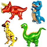 4Pack Giant Self Standing Dinosaur Foil Balloons for Dino Birthday Party Supplies Decorations