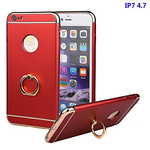 """xhorizon FM8 3 in 1 Ultra Dünn Hart Schützend Stilvoll Case für iPhone 7 [4.7""""] mit 360 Grad Drehbar Ring Ständer (Pink) Rot"""