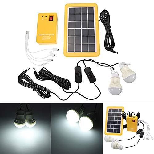 Dastrues Solar-Panelgenerator 3 W mit dem Garten im Freien des USB-Ladegeräts mit 2 LED-Lampen (Akku-ladegerät Linie)