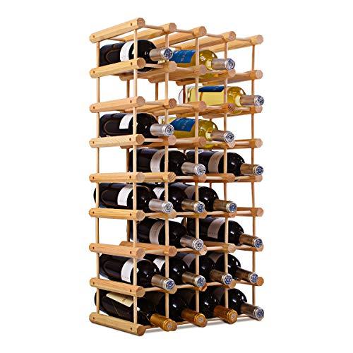 COSTWAY Weinregal 40 Flaschen, Flaschenregal Holz, Flaschenständer Natur, Weinflaschenhalter Weinständer 85x44x24cm