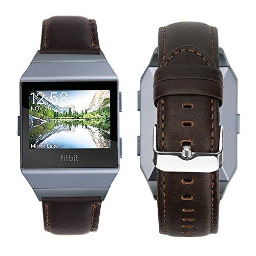 iBazal Fitbit Ionic Correa, Fitbit Ionic Pulsera Correa de Cuero Genuino Banda de Reemplazo para Fitbit Ionic - Moda Café/Gris