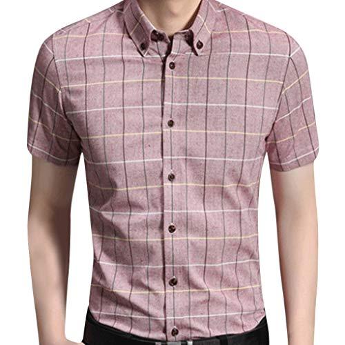 AmyGline Hemden Herren Kurzarm Hemd Drucken Kariertes Hemd Mode Einfach Lässiges Business Hemd Arbeitshemd Bluse T Shirt Freizeithemd Sommerhemd -