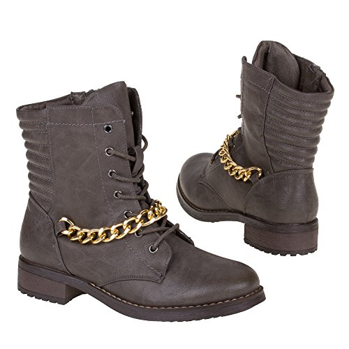 Damen Schuhe, 661-1, STIEFELETTEN Grau