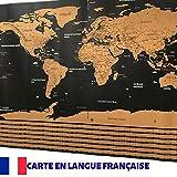 Carte du Monde à Gratter en Français - Format XL : 60 x 84 cm - Immortalisez vos voyages en grattant les pays visités - Avec les 7 merveilles du monde -Livrée en tube