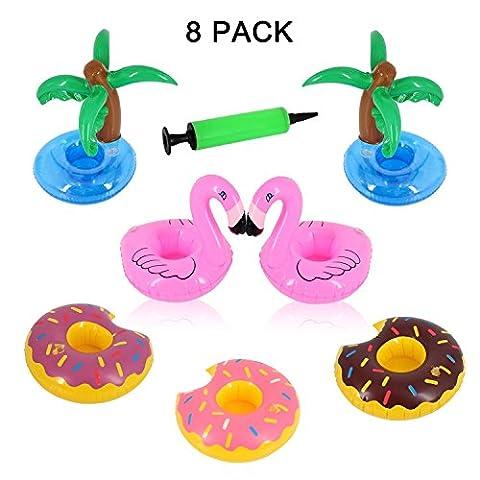 Porte-flotteur à boisson gonflable à l'amande - Donuts, Flamingo et Palmier avec une pompe à air pour l'eau Party (8 pièces)