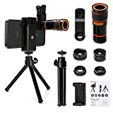 Cell Phone Camera Lens Kit,6 in 1 Universal 12x Zoom Telephoto Lens+0.62x Wide Angle &15x Macro Lenses+235° Fisheye Lens +Starburst Lens +CPL + Phone Holder + Tripod for iPhone X/8/7/6/6s plus Samsung Android & Most Smartphone