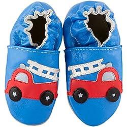 SmileBaby Premium Scarpette Primi Passi in pelle vari motivi, blu camion dei pompieri, 12-18 Monate