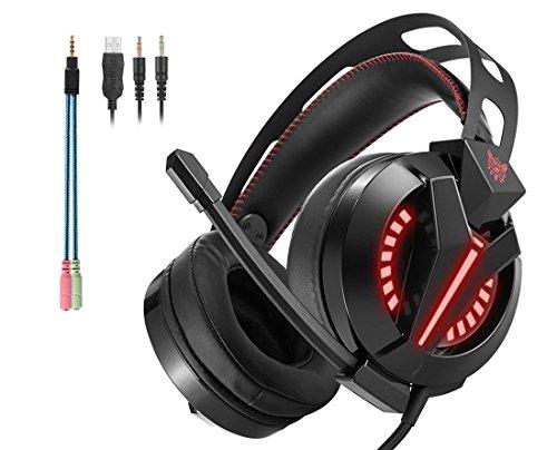 Cascos Auriculares Gaming con Micrófono ArkarTech Headset Auricular Gamer para Juegos Jack de 3,5mm Ultra-livianos Ajustable Estéreo LED y USB Para PC, Móviles, Tablets, PS4 (Adaptador Incluido)