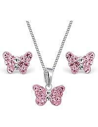 Mini Kristall Schmetterling Anhänger + Kette + Ohrstecker 925 Echt Silber  Mädchen Kinder Set e269aa3d27