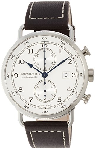 HAMILTON MEN'S KHAKI NAVY 44MM BLACK LEATHER BAND AUTOMATIC WATCH H77706553