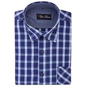 Your Desire Shirts Men Cotton Dark Blue Formal Shirt (Size 42)