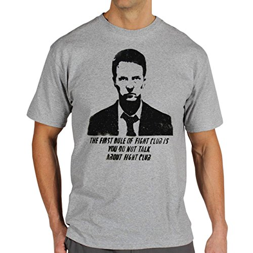 Snatch Movie Brad Pitt The First Rule Of Fight Club You Do Not Talk About Fight Club Banksy Black And White Background Herren T-Shirt Grau