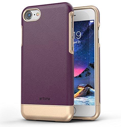 iPhone 7 Premium Vegan Leather Case - Artura Collection By Encased (Jet Black) Merlot Purple