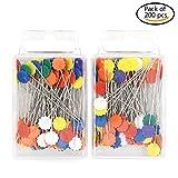 J * MYI 200PCS Flower Head Pins Gerade Plum Blossom Pins flach Flower Head Pins Dekorative Sicherheitsnadeln Box für Nähen DIY Dark