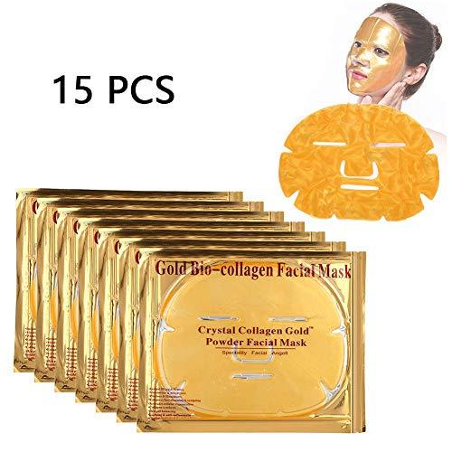 15 Stücke Kollagen Gesichtsmaske Anti-falten Pad Patch Hautaufheller Straffende Feuchtigkeitsspendende Maske (Gold) - Hydra-spray
