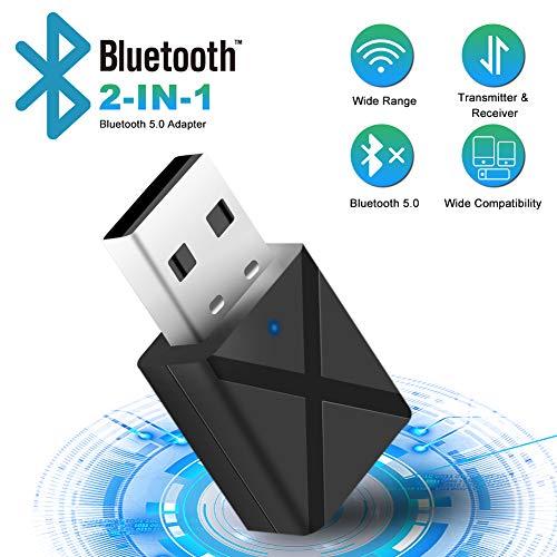 Bluetooth Adapter,Bluetooth 5.0 USB Dongle USB Audioadapter Wireless 2 in 1 Transmitter und Empfänger,Bluetooth Adapter für PC TV Kopfhörer Autoradio