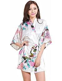 PrettyCos Bata de Bano Kimono Camison Mujer Pijamas de Seda Suave Bata de Casa Albornoz dama de honor de la novia